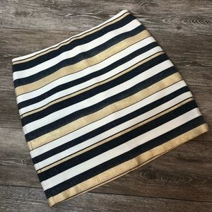 J. Crew Factory Metallic Striped Mini Skirt sz 0